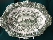"Antique Transferware Oval Bowl - ""Margate"" Green & White"
