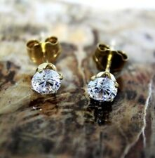 9ct 9k Gold Cubic Zirconia Solitaire Stud Earrings