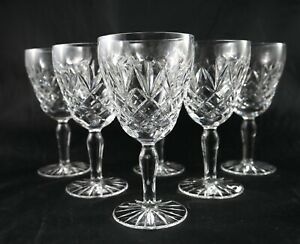 Six Sparkling Vintage cut Lead Crystal Sherry or small wine glasses