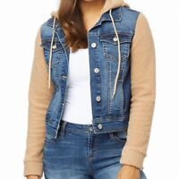 Wallflower Juniors Denim Jacket Blue Size Medium M Cozy Sherpa Sleeves $60- 576