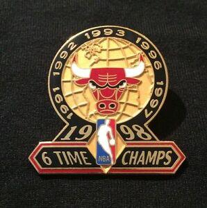 Chicago Bulls 6 Time NBA Champions Champs Pin Jordan 1998 1997 1996 1991 1992