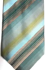 "Kenneth Cole Men's Silk Tie 60"" X 4"" Greens & Golds British Striping"