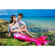 2017 New Luxurious Kids Adult Women Mermaid Tail With Monofin Cosplay Costume