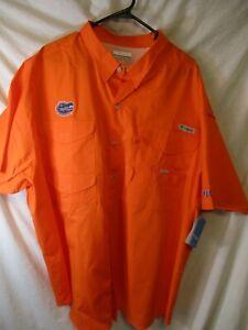 "New 3XL Orange COLUMBIA ""Florida Gators"" Performance Fishing Gear Shirt-NWT"