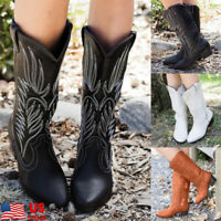 Women Mid Calf Western Cowboy Boots Knee High Boots Chunky Heel Shoes Size 6-9