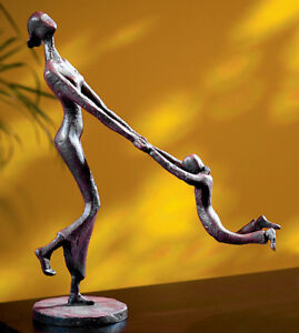 MODERN ART DESIGNER GALLERY HAMMERED IRON MOTHER CHILD AT PLAY STATUE SCULPTURE
