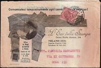 STORIA POSTALE REGNO-L'ECO DELLA STAMPA-Busta pubblicitaria- 10 c.Leoni - 33 SP
