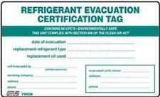 REFRIGERANT EVACUATION Certification Tag / REFRIGERANT I.D. Label , Pack of (5)