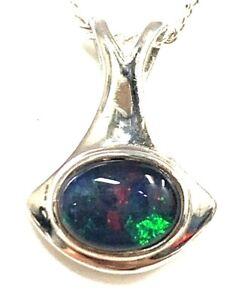 Australian Opal Natural Black Triplet Opal Pendant With 925 Solid Silver Set
