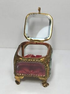 Antique Small Jewelry Casket Vanity Trinket Box Heavy Beveled Crystal