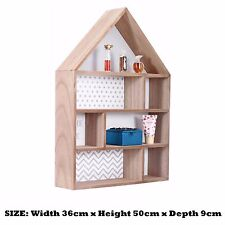 Wooden Display Wall Hanging Storage Unit Rack Shelves Cubes Home Decor Ornaments