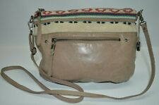 The Sak Khaki Genuine Leather Small Zip Crossbody Bag