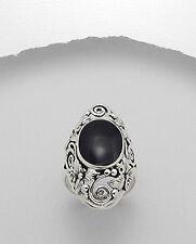 Large Solid Sterling Silver Ring Black Oval Filigree Designer Dress Ring Band