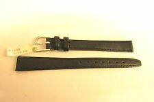 DARLENA LONG BLACK LEATHER 12MM WATCH STRAP BAND WITH SILVER BUCKLE