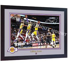 *** LeBron James los Angeles Lakers firmado autografiado foto impresión NBA Enmarcado