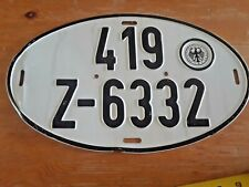 Vintage German Oval License Plate BUNDESFINANZVERWALTUNG - Germany 419 Z-6332
