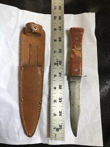 """Vintage 9"""" Imperial USA Carved ELK Handle Fixed Blade Hunting Knife With Sheath"""
