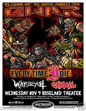 GWAR / EVERY TIME I DIE / WARBEAST / GHOUL 2011 PORTLAND CONCERT TOUR POSTER