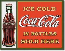 "Drink Coca Cola "" Ice Cold In Bottles Sold Here "" Diner 12.5"" X 16"" Metal Sign"