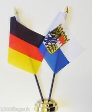 Germany Federal & Bayern Crest Double Friendship Table Flag Set
