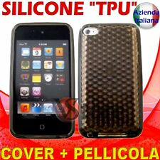 Cover Custodia Silicone Gel Nero Per APPLE IPOD TOUCH 4 4G + Pellicola Display
