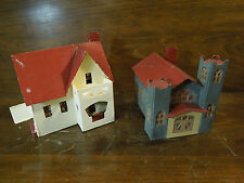 Vintage Train Garden Crafted Hand Painted Small Home & Church Building Models