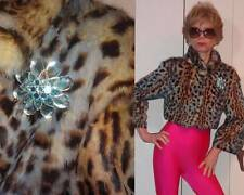 JEKEL PARIS FRANCE RABBIT LEOPARD CROPPED JACKET RHINESTONE BROWN & BLUE XS 2 4