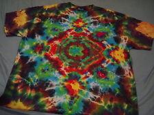Hand-dyed Adult Unisex XL T-Shirt - Sunburst Rainbow Mandala