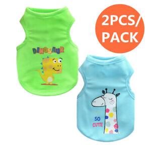 2PCS Boy Dog Clothes Vest T-shirt Size XXS XS Pet Clothing for Teacup Yorkie Cat