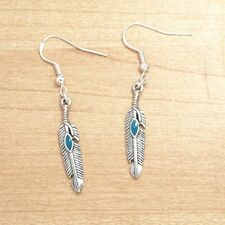 Vintage Silver Native American Feather Turquoise Earrings 925 Sterling Hooks NEW