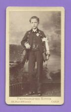 Photo CDV 1880 ROYER CAEN Enfant garçon en uniforme de collégien A181