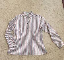 Pendleton White Blouse Brown Stripes 100%  Cotton Long Sleeve Button Down 16 XL