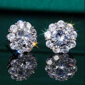 3Ct Round Cut Sparkle Moissanite Flower Halo Earrings 14K White Gold Finish
