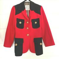 Moschino Cheap & Chic Equestrian Jacket Red Black Wool Gold Buttons Italy S