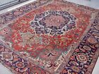 ANTIQUE 1880s HARIZZ TRIBAL HAND KNOTTED WOOL SERAPII ORIENTAL RUG 10 x 13