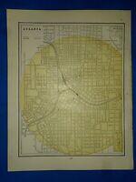 Vintage 1892 Atlas Map ~ ATLANTA, GEORGIA ~ Old Antique Original ~ Free S&H
