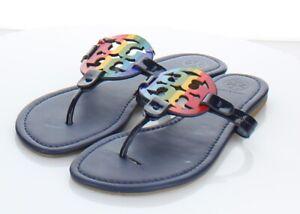 N38 $198 Women's Sz 9 M Tory Burch Miller Leather Medallion Thong Sandals