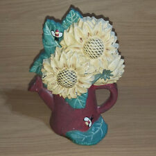 "Vintage Cast Iron Door Stop Sunflowers Watering Can Circa 60's/70's 9"" x 7"""