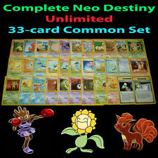 NM Unlimited COMPLETE Pokemon NEO DESTINY 33 COMMON Card SET/105 Trainer TCG