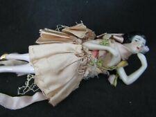 Antique German Half Doll Bathing Beauty Porcelain, silk dress, arms away