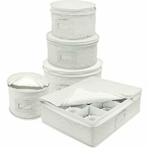Sorbus Dinnerware Storage 5-Piece Set Service for 12-Fine China Case Protection