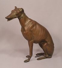 Superb Antique Bronze Seated Female Greyhound with Collar and Moveable Jaw