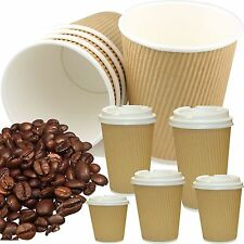 More details for kraft hot drinks paper cups, tripple insulated, tea, coffee, disposable, lids