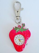 RED STRAWBERRY FRUIT KEYRING/KEY CHAIN PENDANT POCKET FOB WATCH/MINIATURE CLOCK