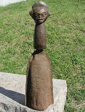 OLD Luba Hemba 2 Face Bronze Statue Figural Bell Metal Congo YAKA Africa Antique
