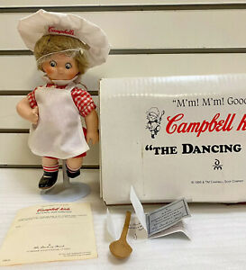 NIB Danbury Mint Campbell's Kids Dancing Chef Doll & Stand Soup Collectable