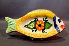 "MEXICAN ART POTTERY FISH TRINKET DISH TERRA-COTTA W/FLOWER 6"""