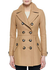 New $1295 Burberry Brit Dillsmead Camel Double Breasted Wool Blend Coat Women 10