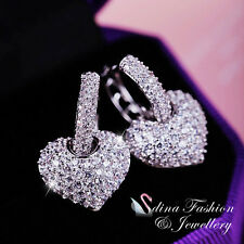 18K White Gold Plated Simulated Diamond Studded Charming Heart Hoop Earrings