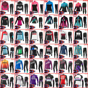 Winter Womens Cycling Jersey Suit Long Sleeve Fleece Thermal Jersey & Pants Sets